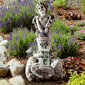 Outdoor Water Fountain With LED Lights, Lighted Cherub Angel Fountain With Antique Stone Design for Decor on Patio, Lawn and Garden By Pure Garden
