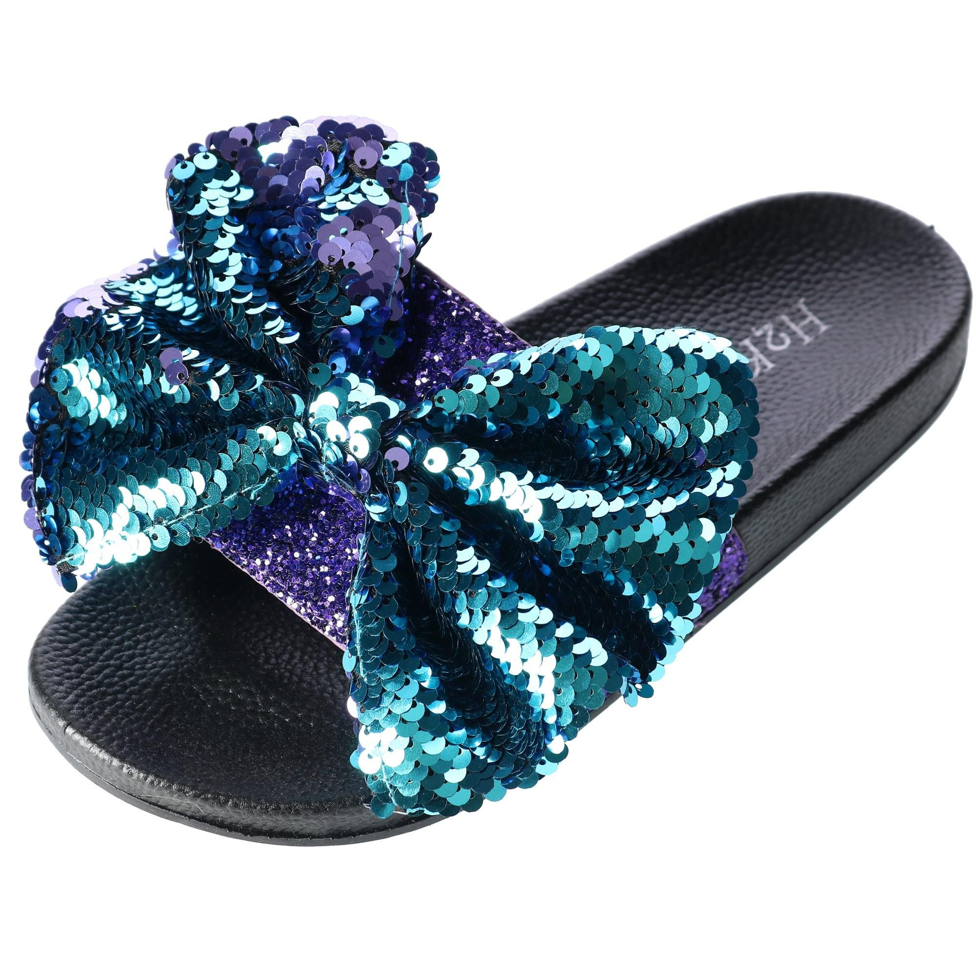 H2K Women's Slide Slipper with Sequin Bow, 9, Purple