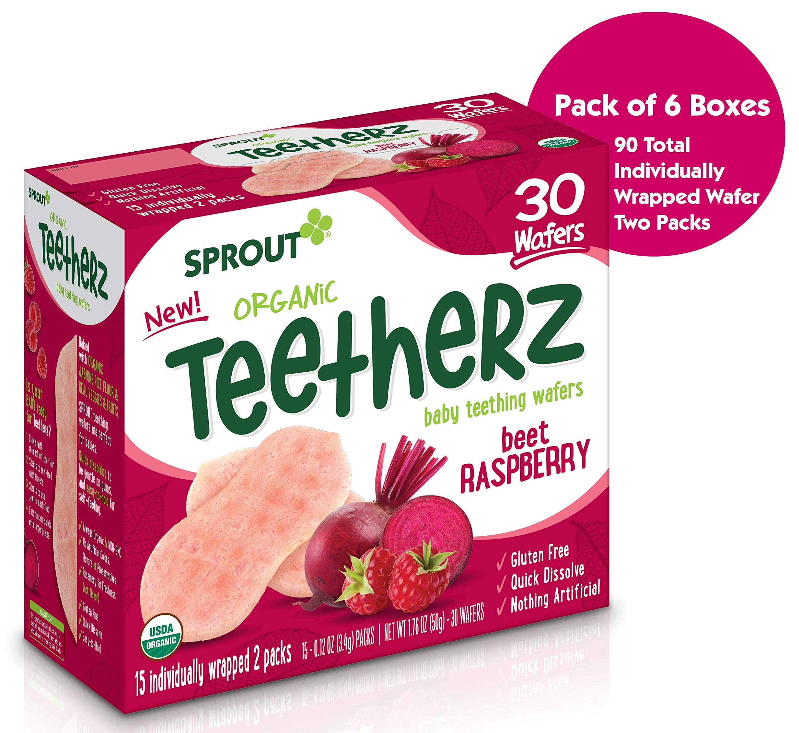 Sprout Organic Baby Food Teetherz Beet Rasberry Teething Wafers, 6Count