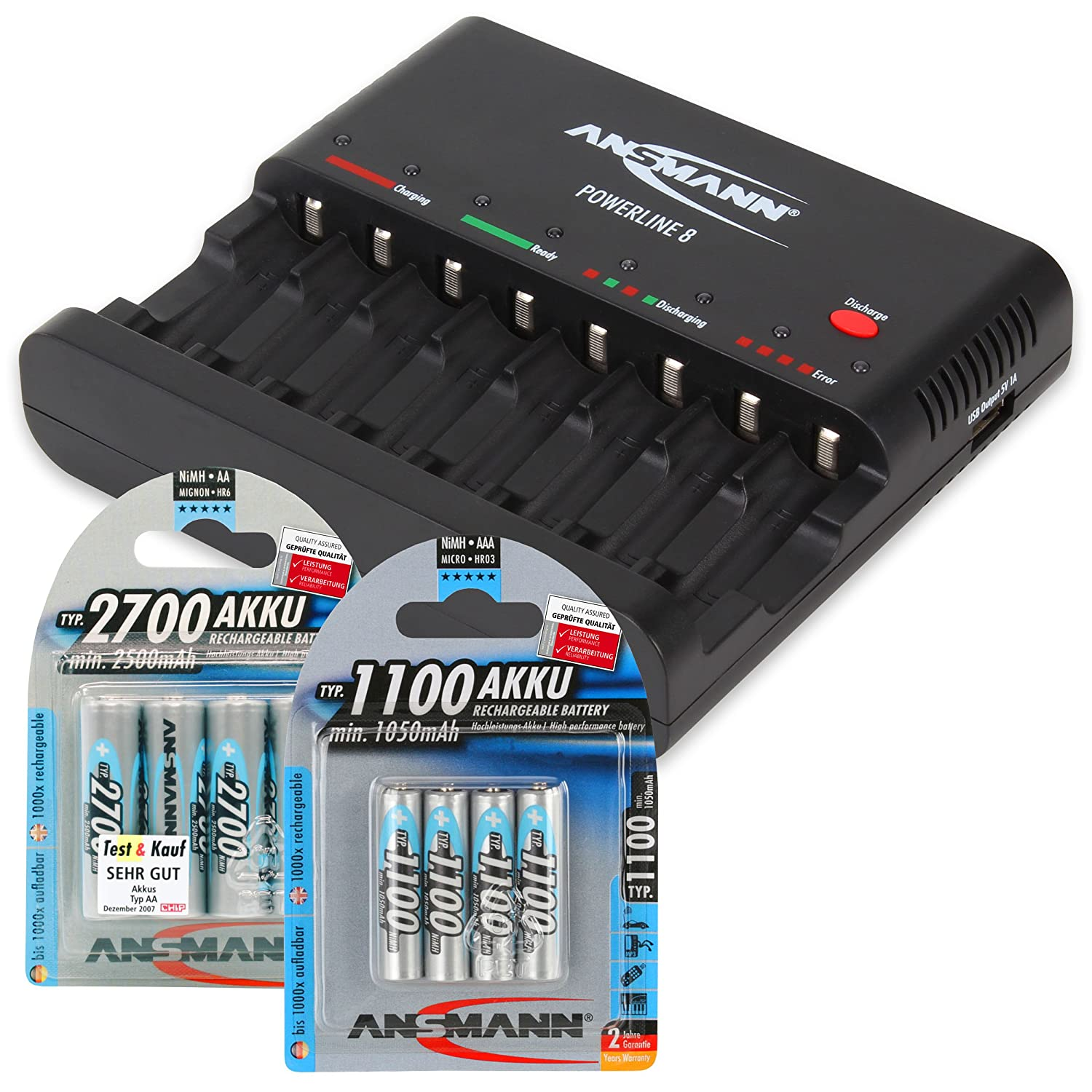 ANSMANN Individual cell battery charger Powerline 8 for NiMH rechargeable batteries AAA & AA with USB Port for Smartphone + 4-Pack 2700mAh double A & 4-Pack 1100mAh tripple A batteries Ansmann USA Corporation 1001-0006-UK-590-5