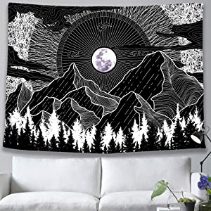 pinata Mountain Moon Tapestry Black and WhiteTrippy Nature Tapestry for Bedroom Living Room Aesthetic Night Sky Large Black Tapestry Wall Hanging Boho Cool Moon Light Forest Dorm Decor 59x83 Inches