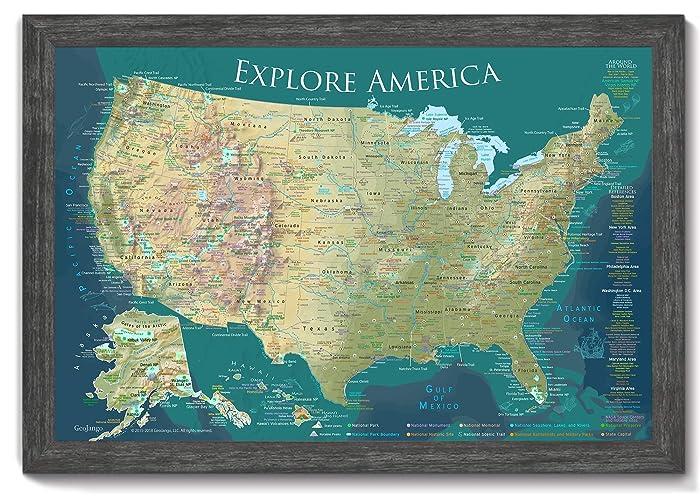 Amazon.com: USA Push Pin Travel Map - 36x24 inch map + Frame ...