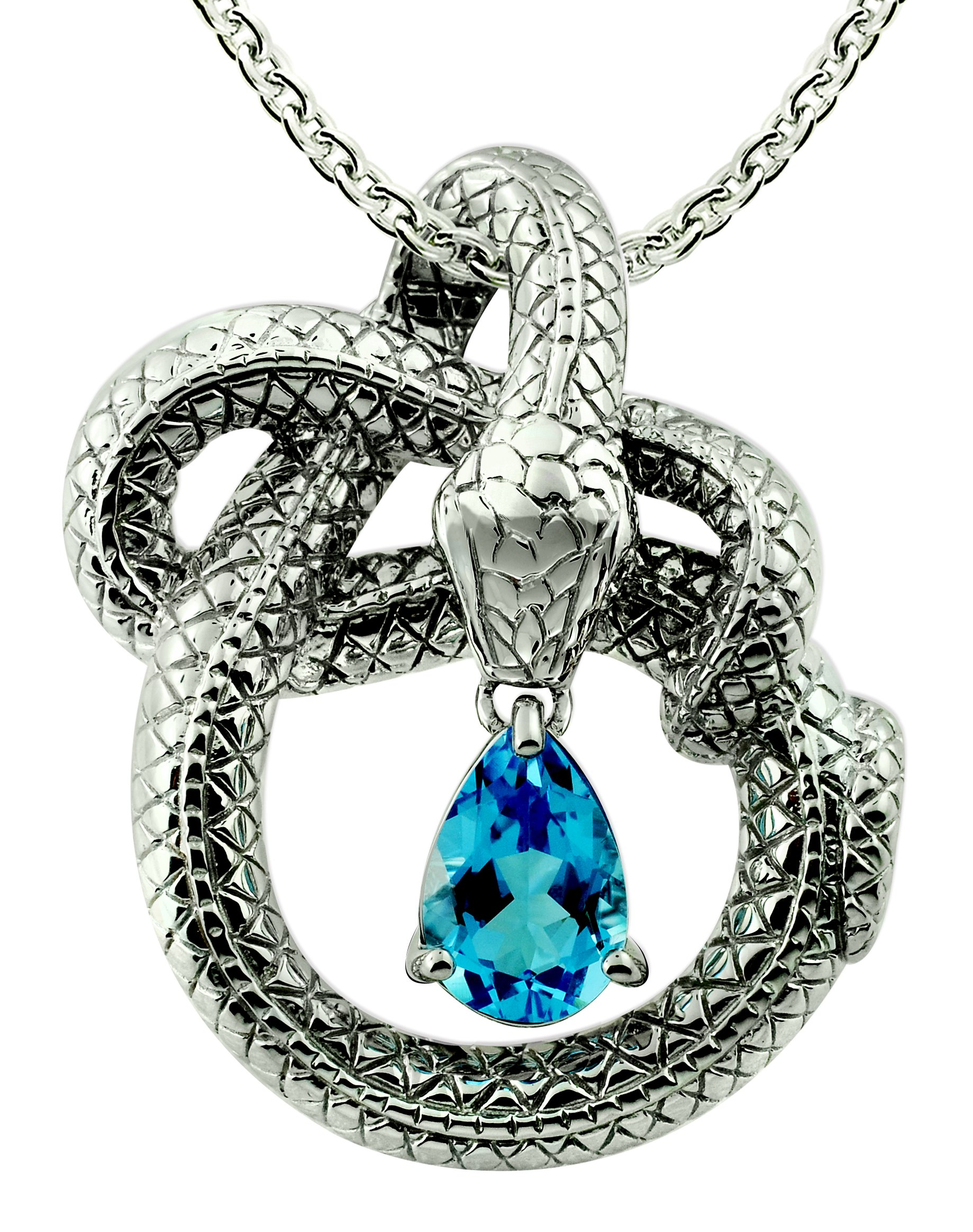 Sterling Silver 925 Pendant Necklace GENUINE GEMSTONE 3 Cts with RHODIUM-PLATED Finish, Snake Design (swiss-blue-topaz)