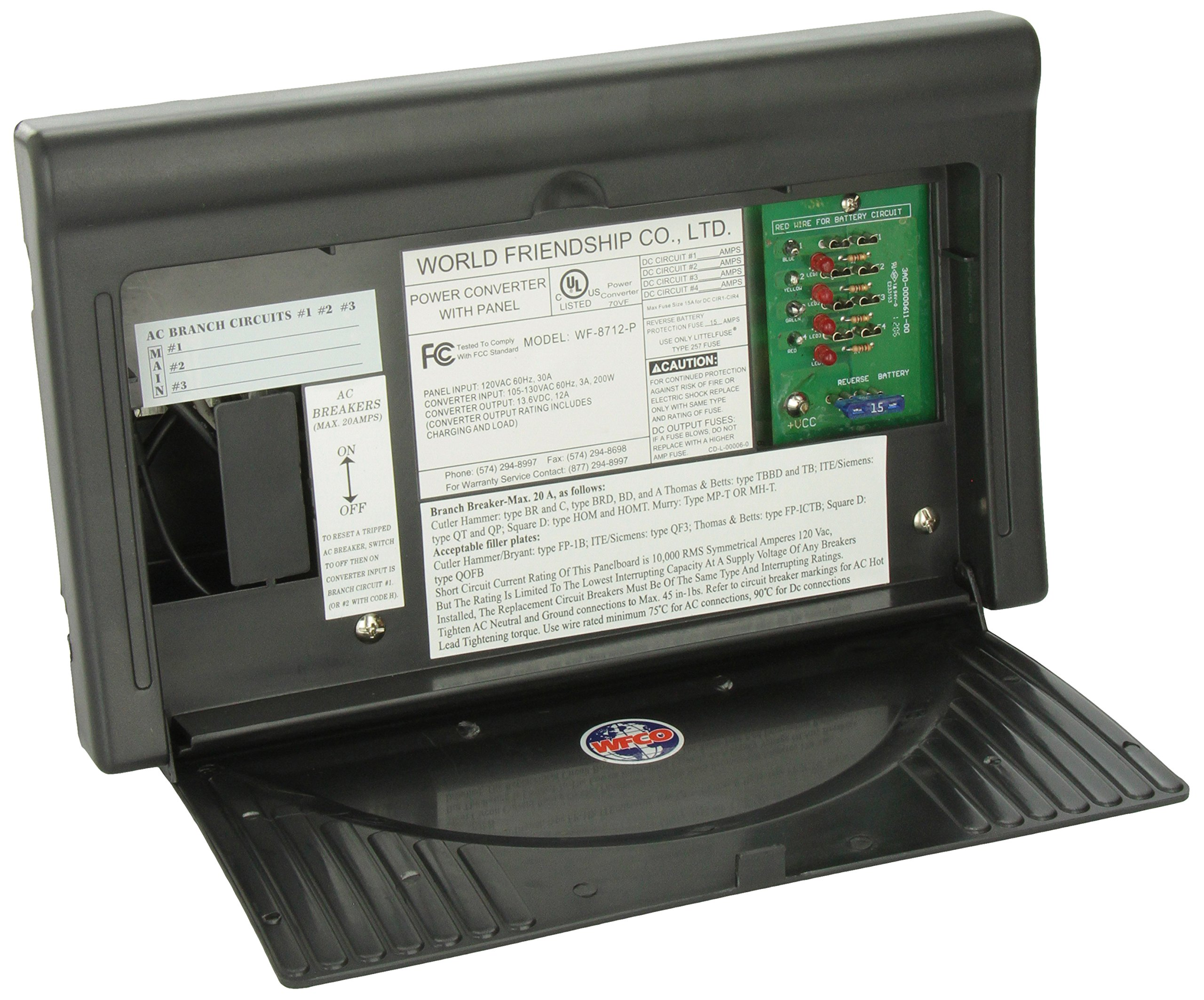 WFCO WF8712PB Black 12 Amps Power Center