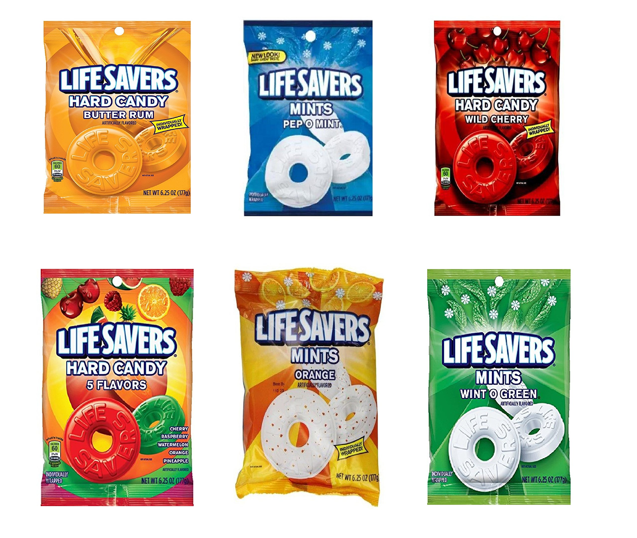 Life Savers Hard Candy, Individually Wrapped, Variety Pack - Butter Rum, Pep O