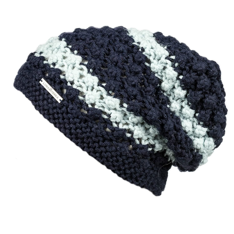 LUNA & TERRA  VERONA Hat Hand Knitted 100% BABY ALPACA (Navy bluee Glacier Ice)