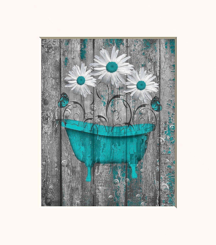 Amazon Com Teal Bathroom Wall Art Farmhouse Bathroom Decor Photography Matted 5x7 8x10 11x14 Daisy Flowers Butterflies Rustic Home Decor Picture Handmade