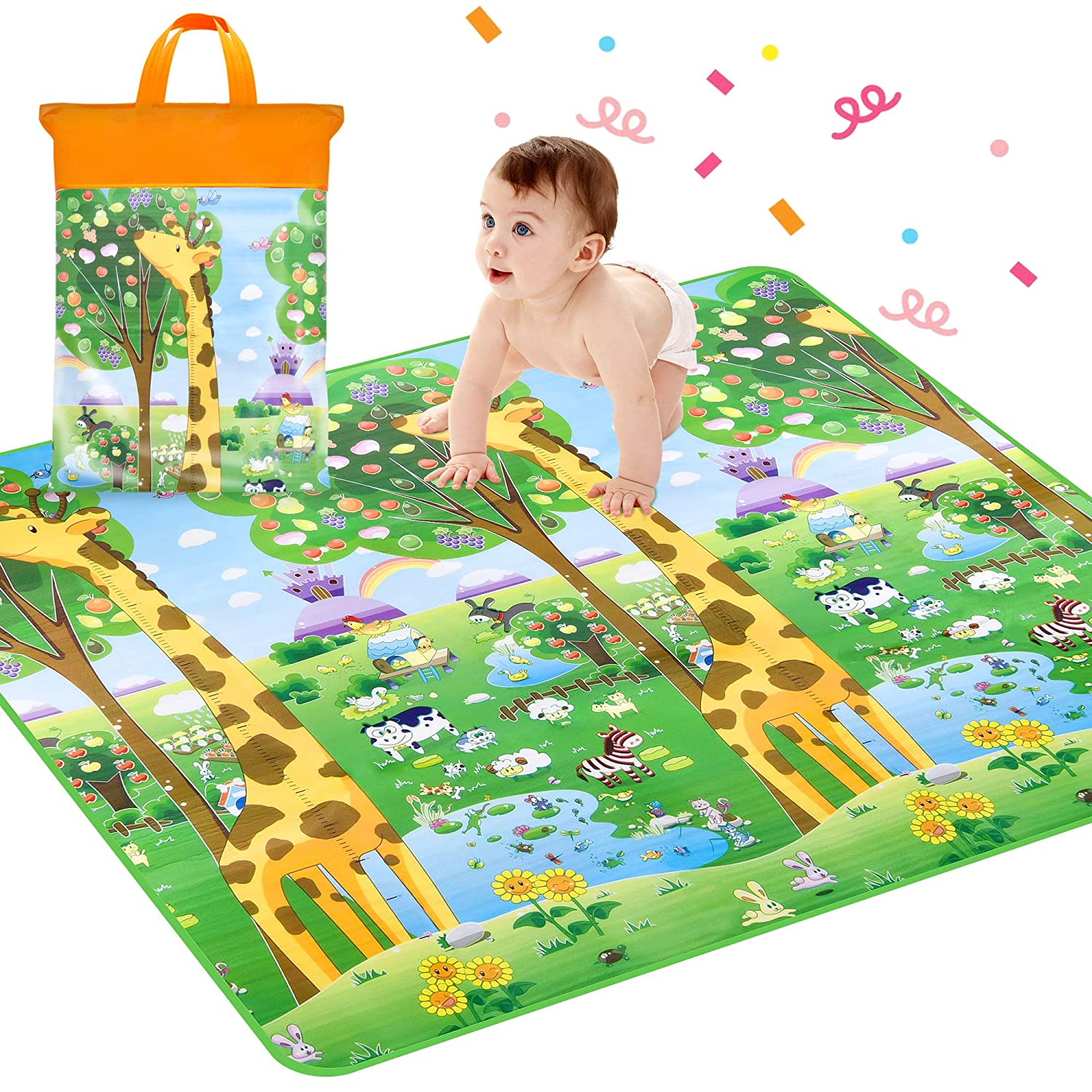 Crawling Mat, Waterproof Non-Toxic Non-Slip Baby Floor Mat Educational Learning Area Rug for Kids and Children, Kids Activity Mat Reversible Thick Large 78.7 x 71 Playmat (Animal Height Rulers) ROOYA BABY