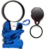 Magnifying Glass x 2 Large LED light, for office / reading / hobbies. 5x magnification. Both hand held with optical glass lenses. Small folding pocket size 8x magnification. Handheld with protective pouches. Batteries included. Quality fully guaranteed. Great gifts