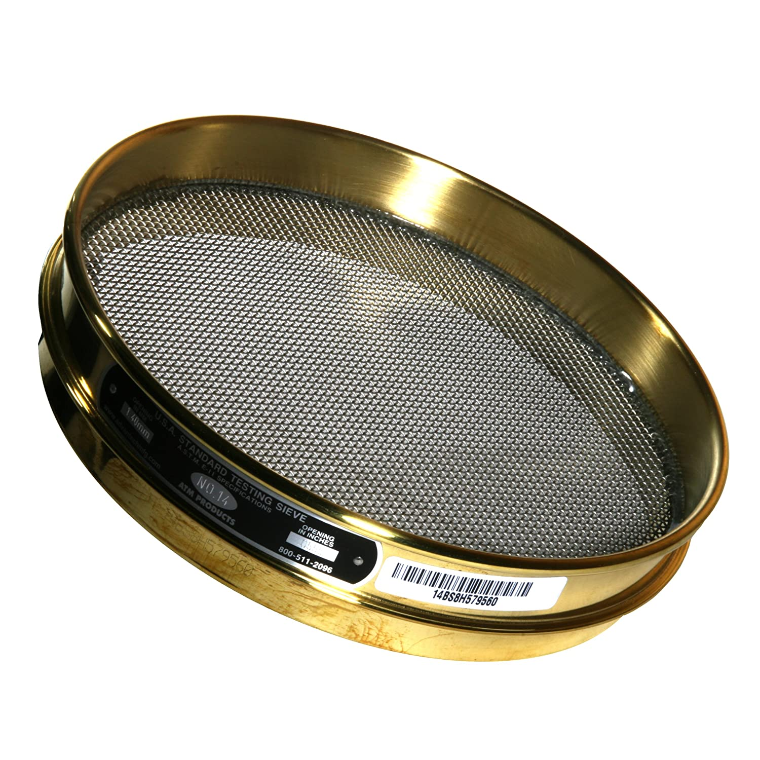 Advantech Brass Test Sieves, 8' Diameter, #14 Mesh, Full Height 8 Diameter ADV-14BS8F