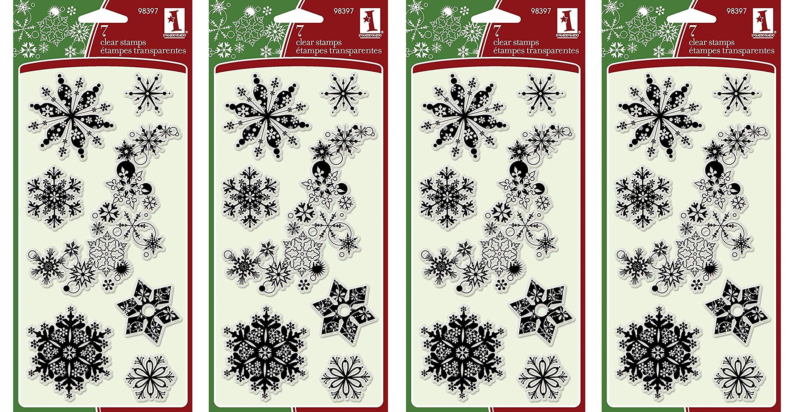 Inkadinkado 7-Piece Snowflakes A-Plenty Clear Stamp (4-(Pack))