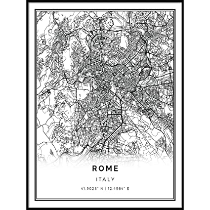 Black And White Map Of Italy.Amazon Com Squareious Rome Map Poster Print Modern Black And
