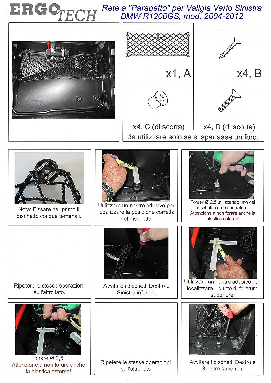 Rete a parapetto per valigia Vario SINISTRA moto BMW R 1200 GS modelli prodotti dal 2004 al 2012.