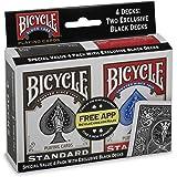 Bicycle Standard Index (4 Pack , Black/Red)