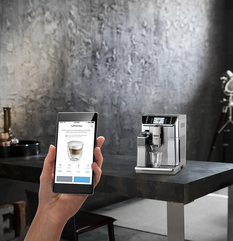 Cafetera automática DeLonghi PrimaDonna Elite ECAM 656.55.MS con pantalla a color TFT de 3,5 pulgadas, sistema de leche integrado, control por aplicación, ...