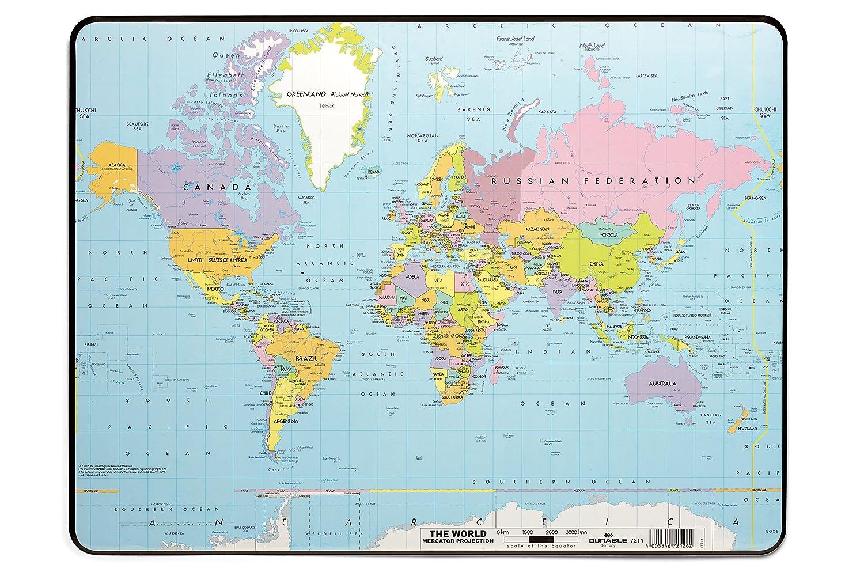 Durable World Map Desk Pad, 15.75 x 20.75 Inches, Multicolored (DBL721119)