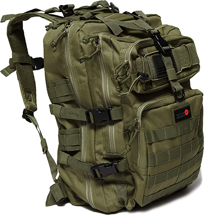 Photo of a camou tactical backpack with buckle locks on sides and molle webbing straps on front