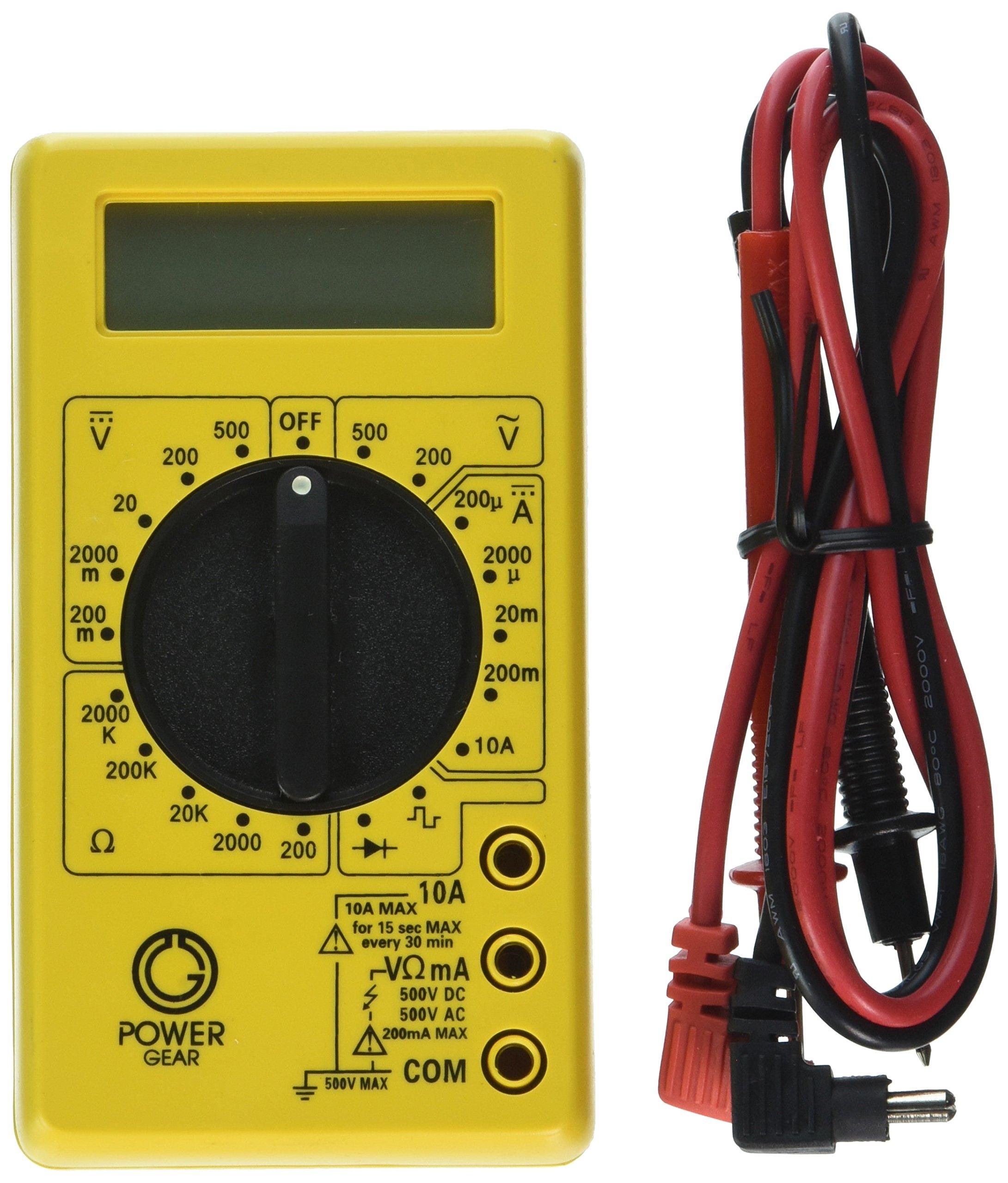 Power Gear Multimeter, Digital 17 Range 6-Function Non-Recording, Yellow 50953