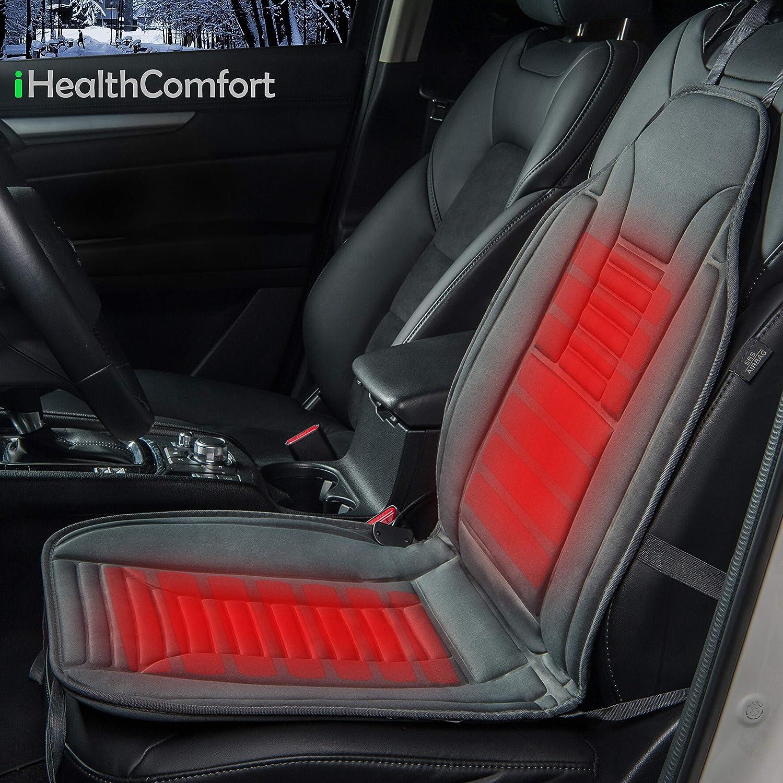 Sojoy iHealthComfort 12V Car Heated Seat Cushion Cover Pad (Gray) BHO-169