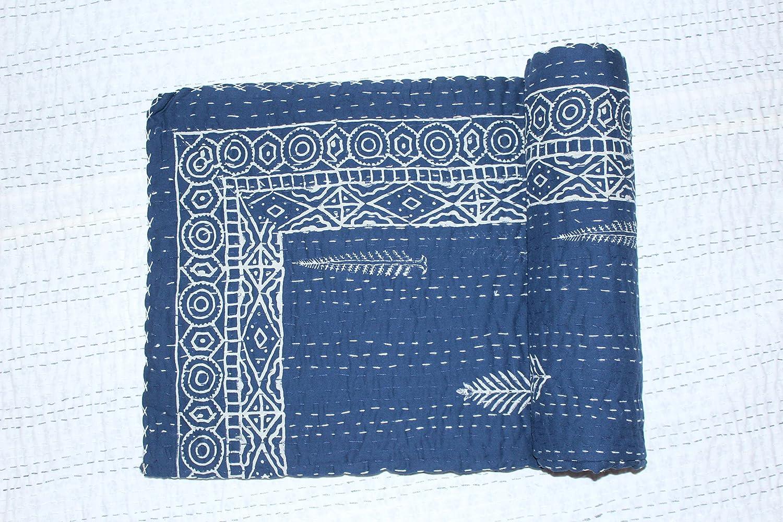 KHUSHI HANDICRAFT Khushihandicrafts Jaipuri ハンドブロックプリント コットン ハンドメイド カンタベッドカバー サンガネリ フローラルプリント カンタベッドカバー 60x90 マルチカラー B078W9H188