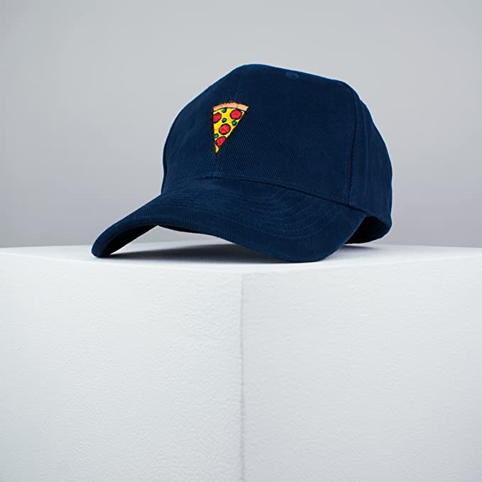 758643b8f7f Pizza Slice Embroidered Baseball Cap Navy Pizza Patches Food Embroidery  Patch Hat dad Hat Cap Iron on Patch Embroidered ...