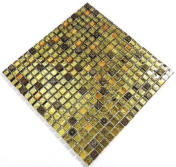Fliesen Mosaik Mosaikfliesen Glasmosaik Glänzend Gold Bad WC Küche 8mm Neu  #S23
