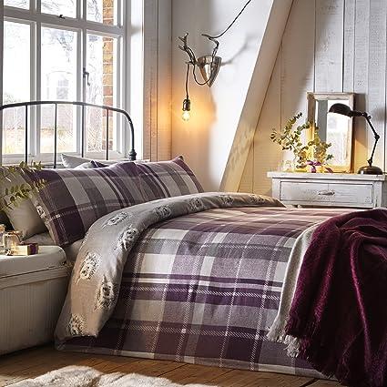 Check duvet set SINGLE quilt cover heather tartan check reversible bed set