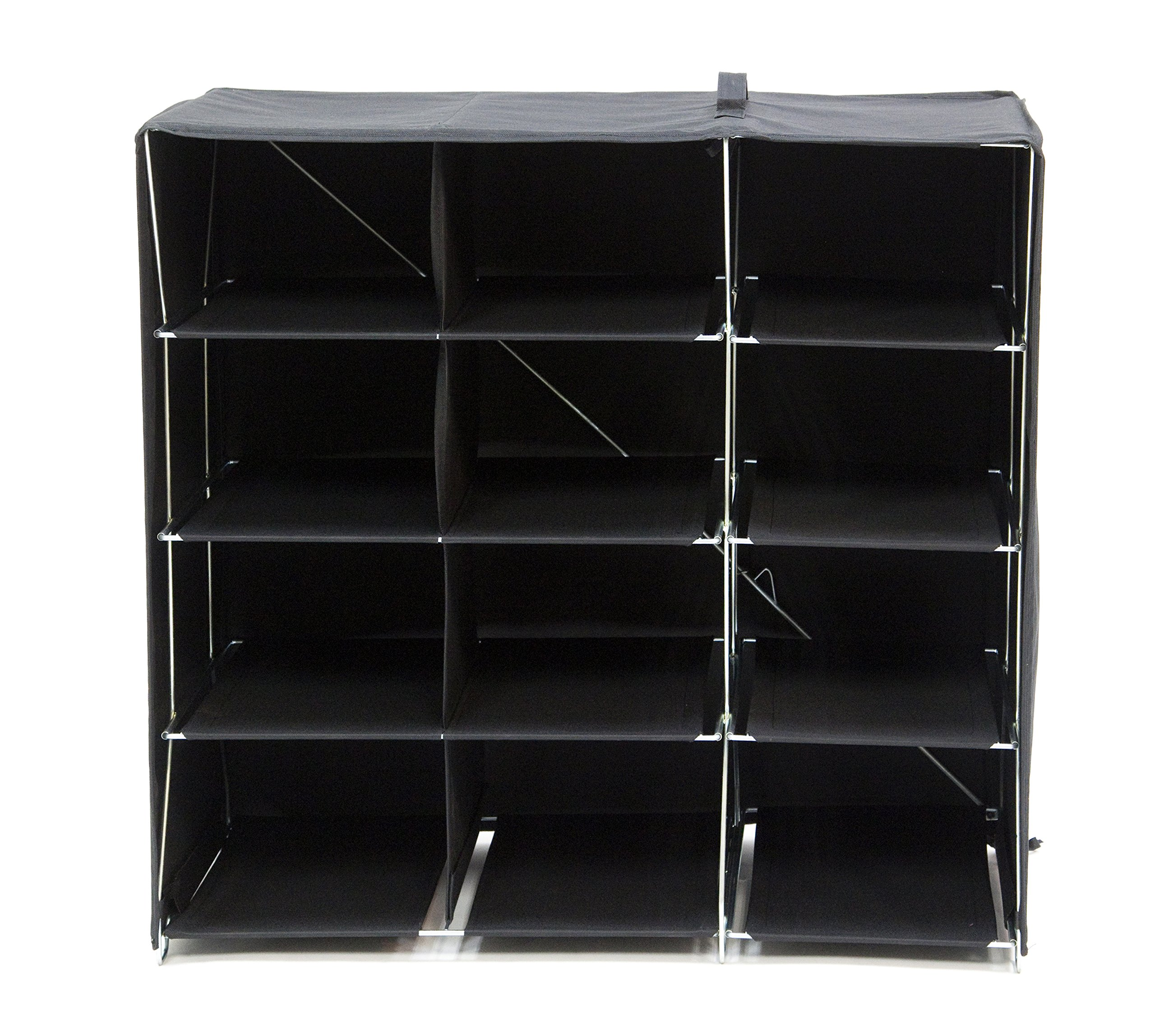 Origami R-FSR-12-B 12-Shelf Foldable Shoe Rack, Fabric Backing, Black