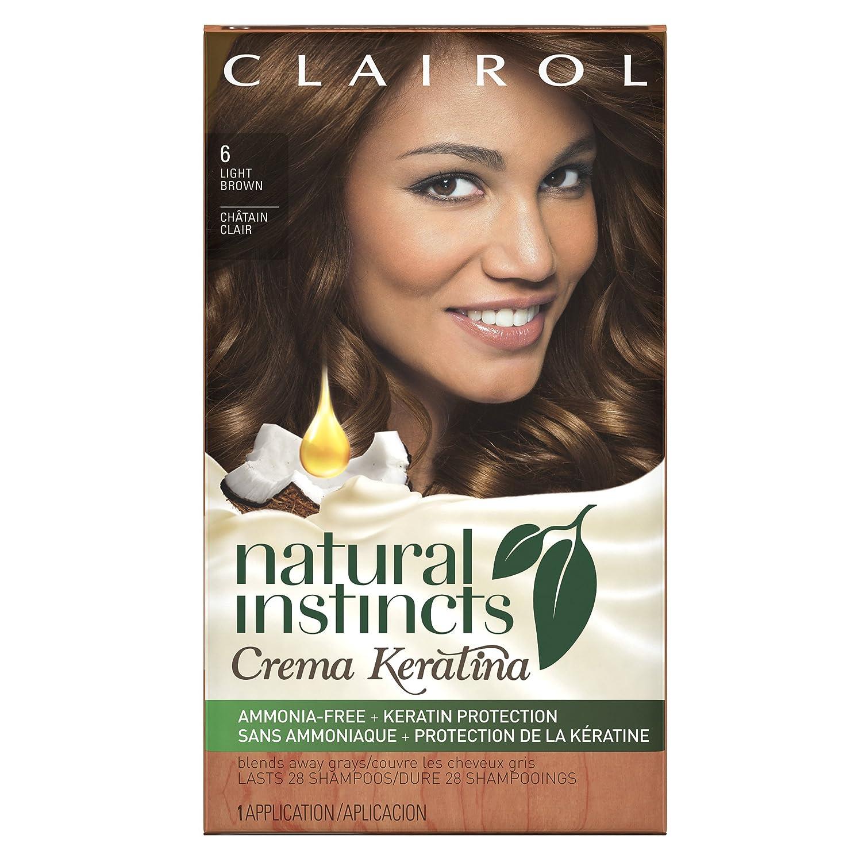 Clairol Natural Instincts Cream Keratina Hair Color Light Brown 6 Cappuccino Creme 1 Kit, 1-Count 0381519183461