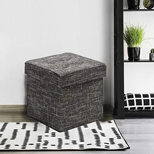 Seville Classics 15.7 Tweed Foldable Storage Ottoman Footrest Toy Box Coffee Table Seat Stool
