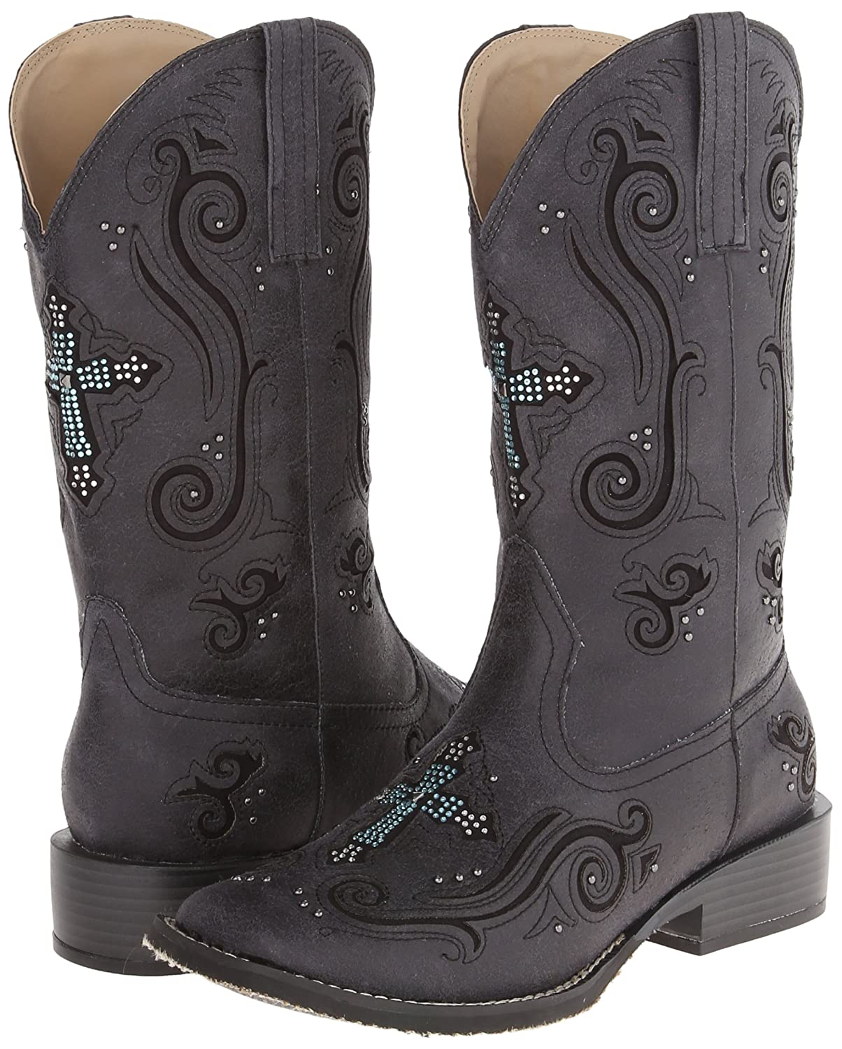 Roper Women's Crossed 10.5 Out Western Boot B00JE8XOZM 10.5 Crossed B(M) US|Black 433bef