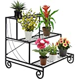 Best Choice Products 3 Tier Metal Plant Stand Decorative Planter Holder Flower Pot Shelf Rack Black