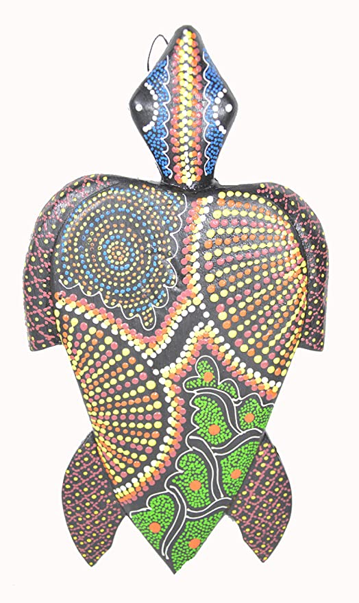 Worldbazzar Hand Carved Wooden Sea Turtle Aboriginal Dot Art Wall Sculpture Plaque