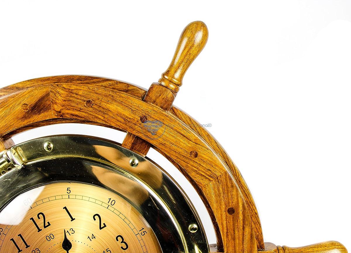 "Nagina International 24"" Exclusive Pirates Nautical Ships Steering Wheel Styled Porthole Clock | Lavish Wall Decor Gifts & Collectible"