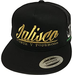Jalisco Fuerte y Poderoso Hat Black Mesh Snapback 2 Logos