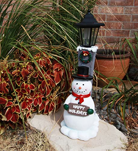 Ebros Jolly Christmas Season Frosty The Snowman Decorative Statue with Solar LED Light Lantern Lamp 18.5 H As Home Patio Guest Greeter Welcome Decor with Happy Holidays Sign Plaque