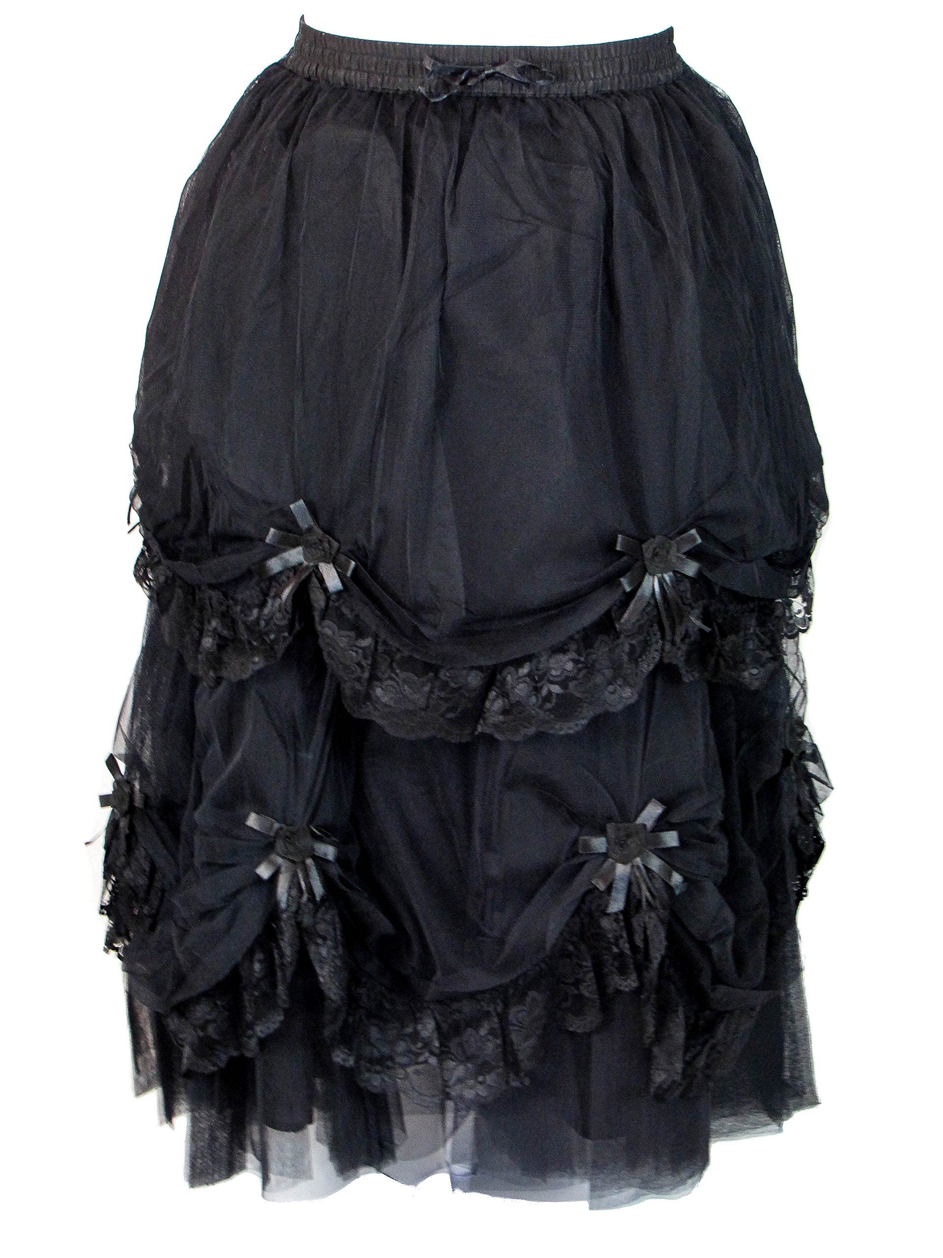 Dark Star Plus Size Long Black Satin Roses Gothic Medieval Fairytale Skirt L-2X (FITS L-2X)