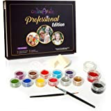 Create-A-Face Professional Edition Face Painting Set (Paints up to 100 faces) 12 Vibrant Colors, 2 Shinny Glitters, 2 Handy Triangle Sponges, 2 Professional Brushes - Water Activated - 100% Safe