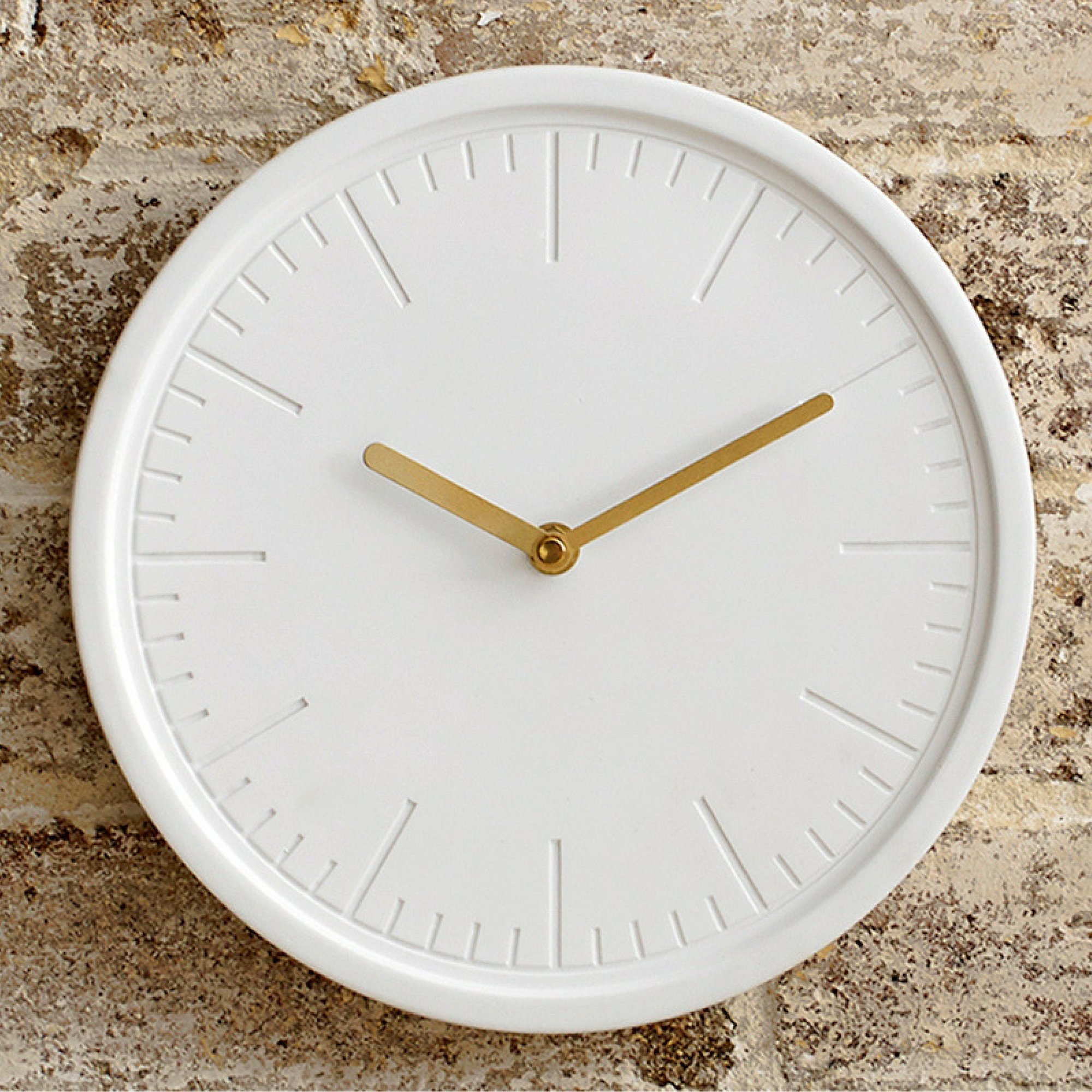 Silent Wall Clock – Ceramic Face – Decorative Modern White - Metallic Gold Hands – Round 10 Inch – Quartz Movement – Easy To Hang – Single AA Battery Powered