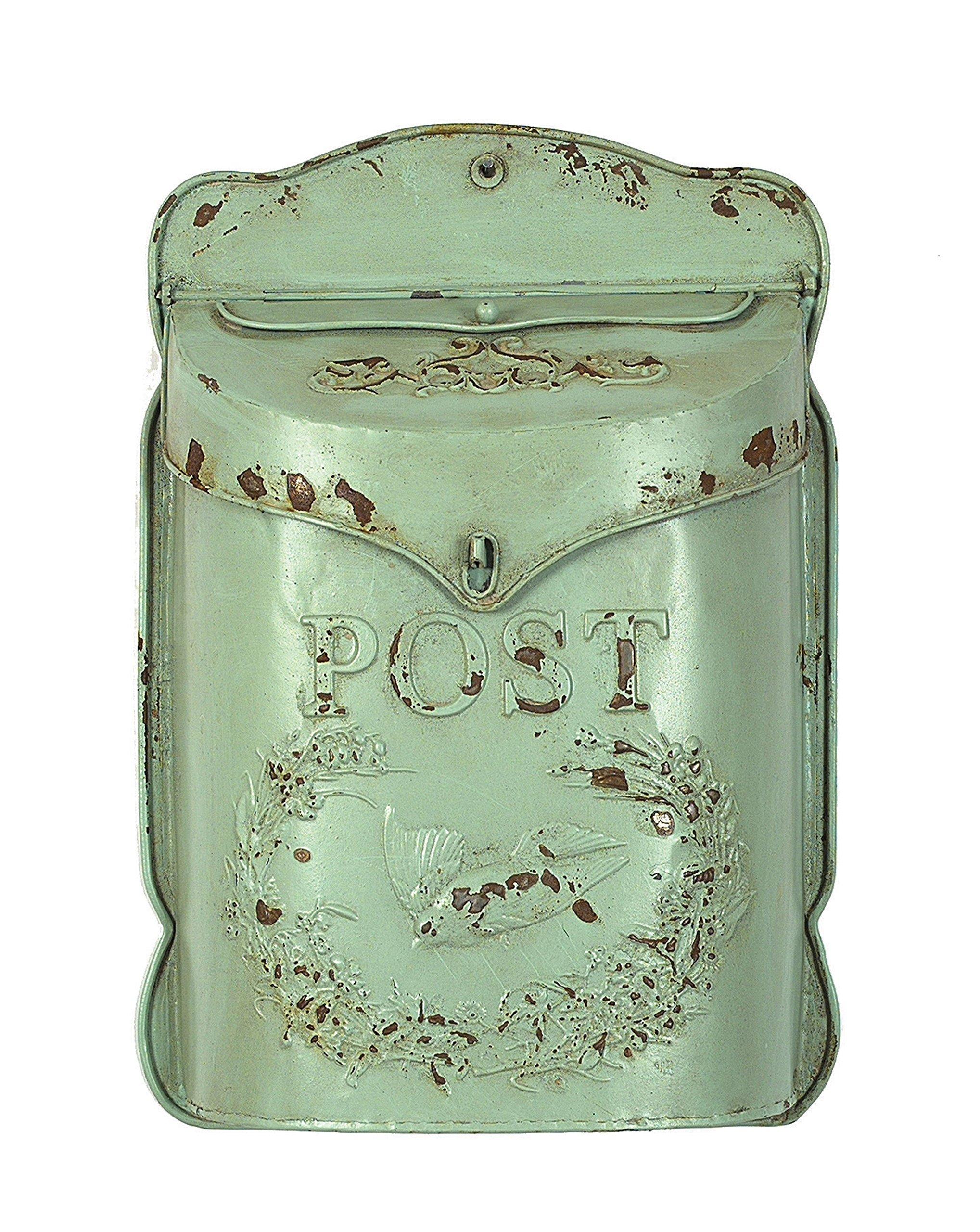 Creative Embossed Tin Letter Box, Aqua - 10.5 x 15.25 Inch