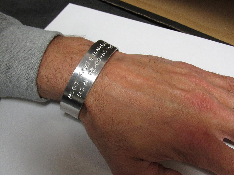 bracelets amazon personalized memorial aluminum dp military cuff kia com jewelry bracelet