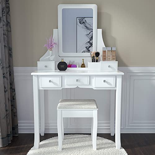 Amooly Vanity Set with Mirror,5 Large Sliding Drawers, Removable Makeup Organizer,Cushioned Stool Dressing Table Vanity Makeup Table