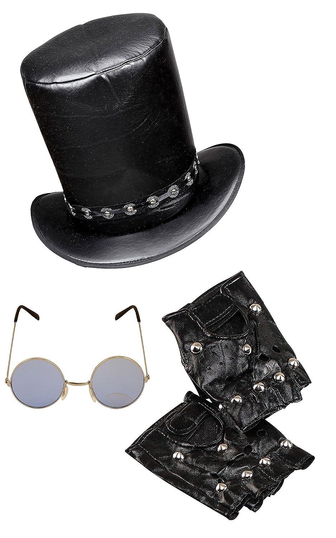 Mens Fancy Dress Black Punk Goth Rock Spike Set YMCA Hat Camp Hat Moustache