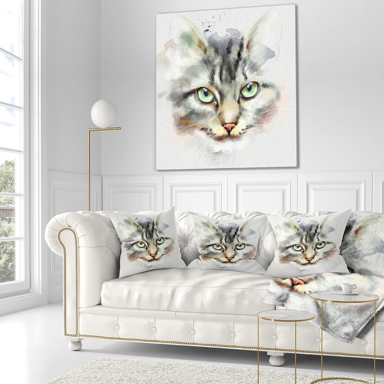 Designart CU13773-26-26 Cute Kitten Watercolor Hand Drawn Animal Cushion Cover for Living Room 26 x 26 Sofa Throw Pillow Insert Printed