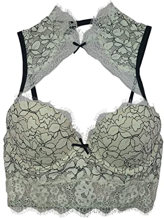 e60dedf5fb Image Unavailable. Image not available for. Color  Victoria s Secret Dream  Angels Padded Demi Bra High Neck Ivory Black Lace