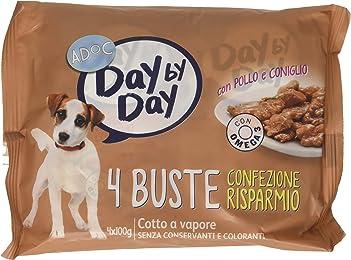 Adoc Day By Day Pollo e Coniglio per cani adulti, 10 confezioni multipack da 4 pezzi