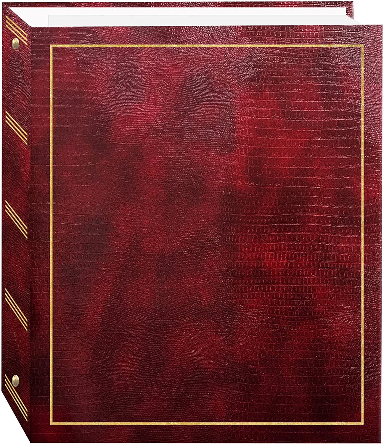 Magnetic Self-Stick 3-Ring Photo Album 100 Pages (50 Sheets), Burgundy Red