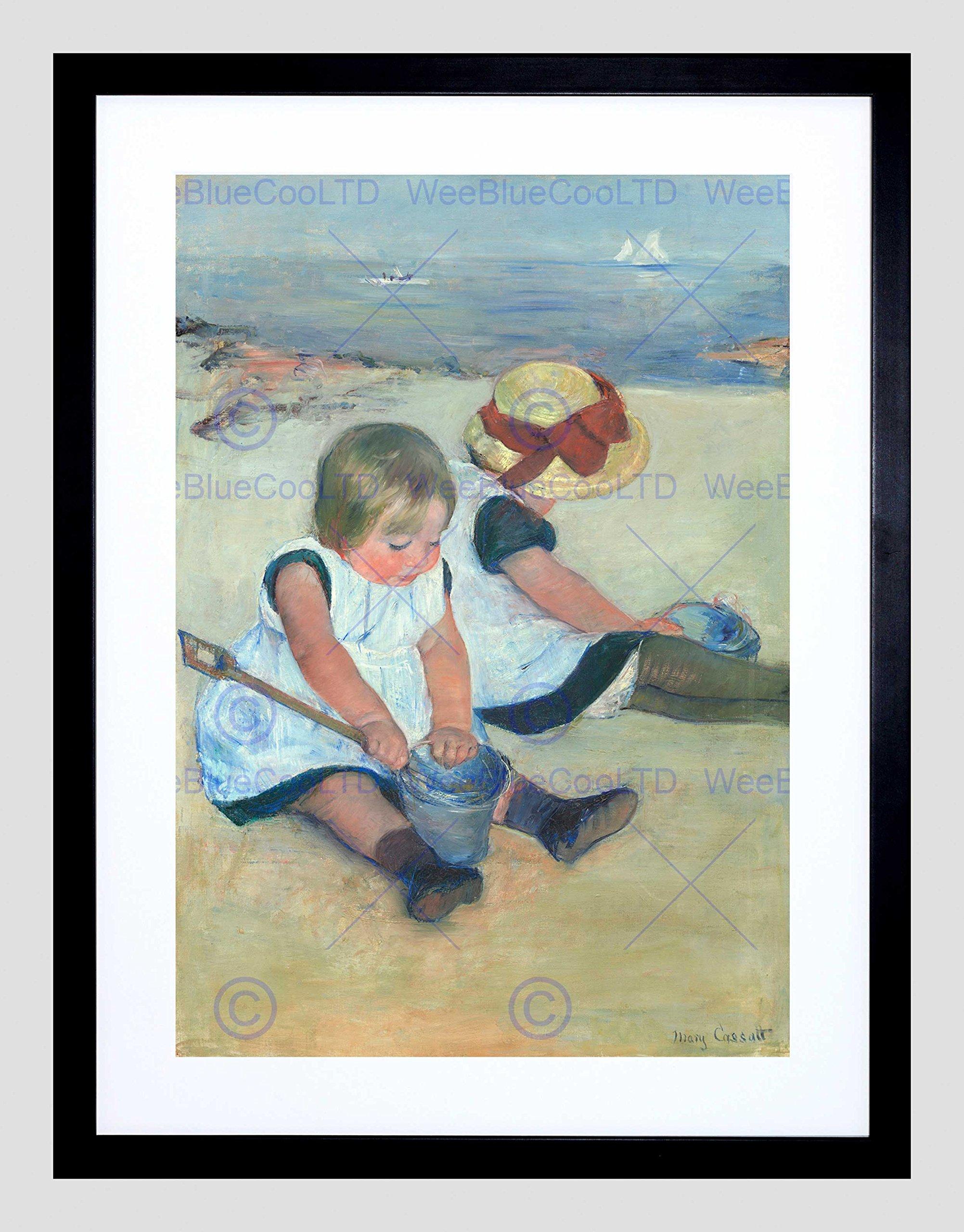 MARY CASSATT AMERICAN CHILDREN PLAYING BEACH BLACK FRAME FRAMED ART PRINT PICTURE + MOUNT B12X5373