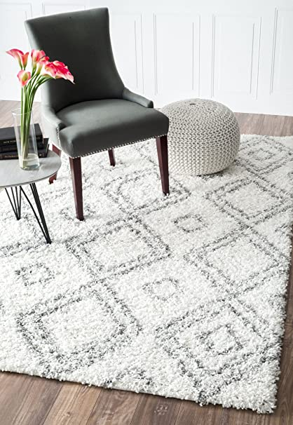 Cozy Soft And Plush Moroccan White Shag Area Rugs, 5 Feet By 8 Feet (