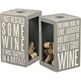 "Primitives by Kathy ""This Home Runs on .. Good Wine"" Cork & Cap Holder, Gray, Large"